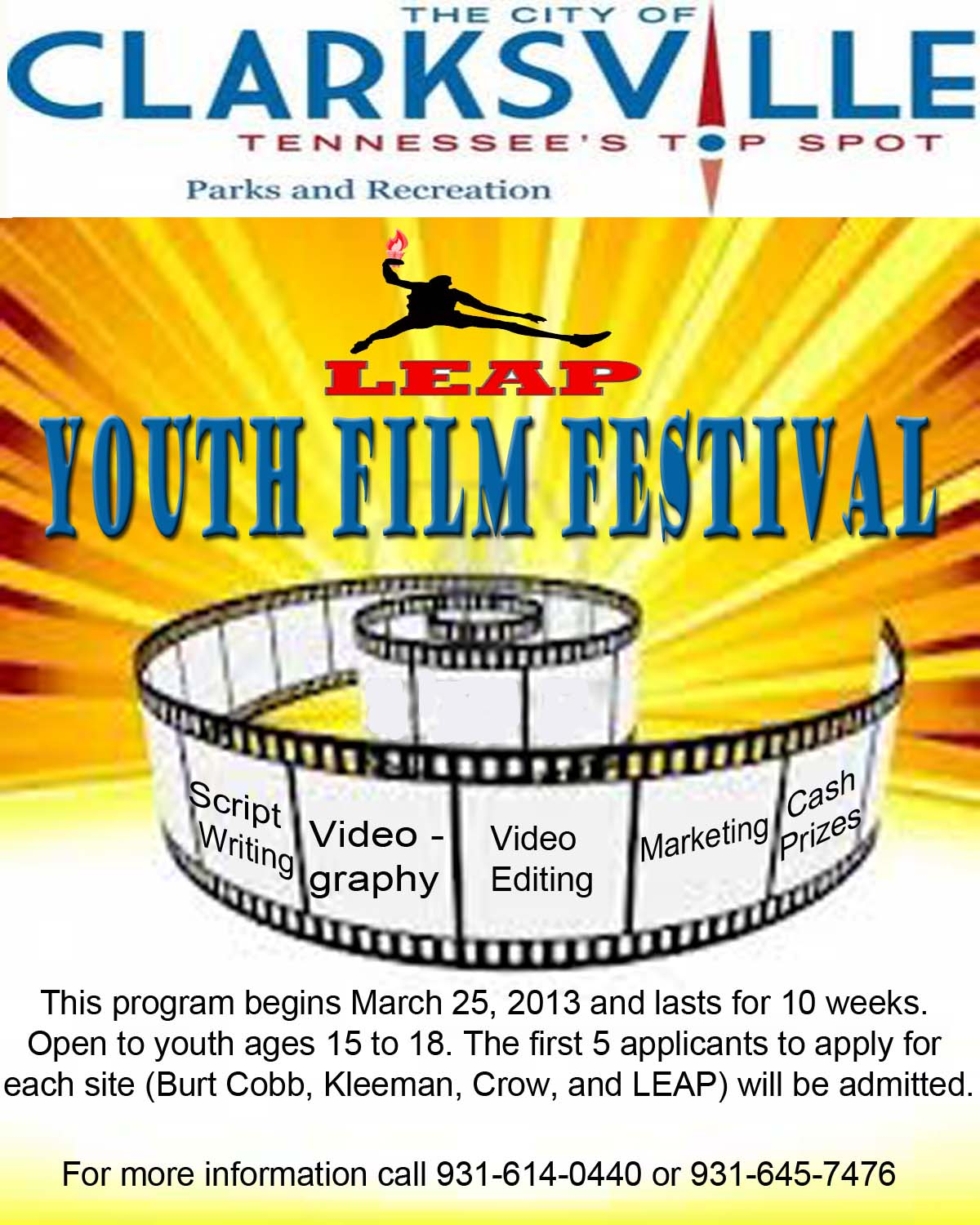 st annual youth film festival clarksville tn online clarksville tn the city of clarksville s department of parks recreation along the leap organization have partnered to host a youth film festival