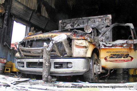 An ambulance was the source of the flames that destroyed EMS Station 23 on Highway 149 in South Montgomery County earlier today