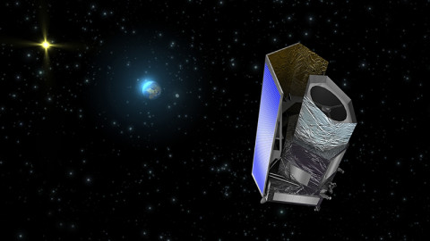This artist's concept shows the Euclid spacecraft. The telescope will launch to an orbit around the sun-Earth Lagrange point L2. The Lagrange point is a location where the gravitational pull of two large masses, the sun and Earth in this case, precisely equals the force required for a small object, such as the Euclid spacecraft, to maintain a relatively stationary position behind Earth as seen from the sun. (Image credit: ESA/C. Carreau)