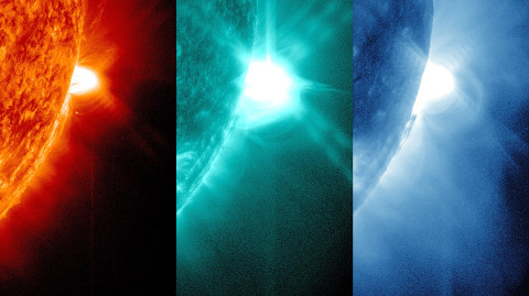 On July 19th, 2012, SDO captured images of a solar flare in numerous wavelengths. The 131 Angstrom wavelength, shown here in the middle and colorized in teal, portrays particularly hot material on the sun, at 10 million Kelvin, which is why the incredibly hot flare shows up best in that wavelength. The 131 wavelength was also able to show kinked magnetic fields known as a flux rope that lay at the heart of a coronal mass ejection (CME), which also erupted at the same time as the flare. (Credit: NASA/Goddard Space Flight Center)