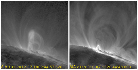 By looking at the very hottest material in the sun's atmosphere (on the left) scientists could observe the tell tale signs of the twisted magnetic fields of a flux rope – which lay at the heart of coronal mass ejections (CMEs). The flux rope doesn't show up in a nearly simultaneous image of cooler material (on the right). These images were captured by NASA's Solar Dynamics Observatory on July 19, 2012. (Credit: NASA/SDO)