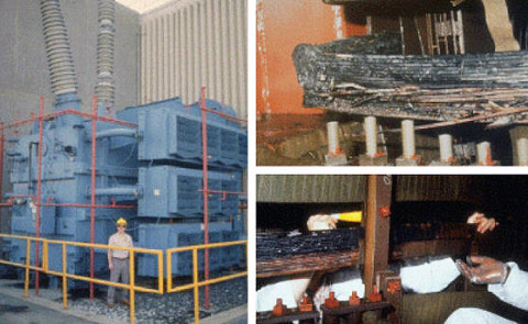 Permanent damage to the Salem New Jersey Nuclear Plant GSU Transformer caused by the severe geomagnetic storm of March 13th, 1989. (Photos courtesy of PSE&G.)