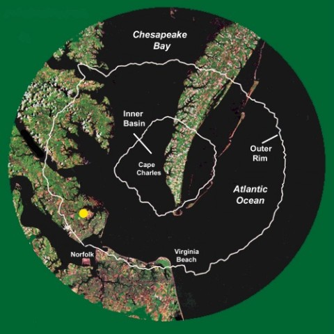 A map showing the location of the Chesapeake Bay impact crater