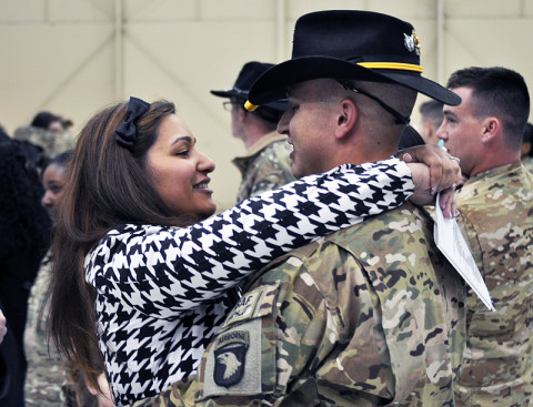Approximately 103 Soldiers from the 101st Combat Aviation Brigade, 101st Airborne Division (Air Assault), returned from deployment in Afghanistan during a welcome home ceremony, February 27th, at Fort Campbell, KY. (Photos by 101st Airborne Division Public Affairs Office).