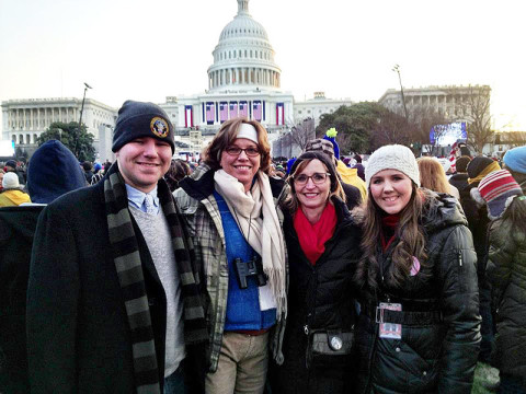 Charles, Maria, Minoa and Carrie Uffelman attend President Barack Obama's inauguration.
