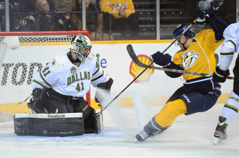 Dallas Stars goalie Cris Nilstorp (41) stops a shot from Nashville Predators right wing Patric Hornqvist (27) during the first period at Bridgestone Arena. (Photo by Randy Sartin - USA TODAY Sports)