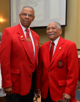 Donald Elder, left, was guest speaker at the 8th Military Information Support Group (Airborne) Equal Opportunity office hosting the first MISOC led African American Heritage Observance at the Fort Bragg Club. Joining Elder is Reverend James Jones. Elder and Jones were members of the famed Tuskegee Airmen squadron . (Photo by Jerry Green/USASOC Public Affairs)