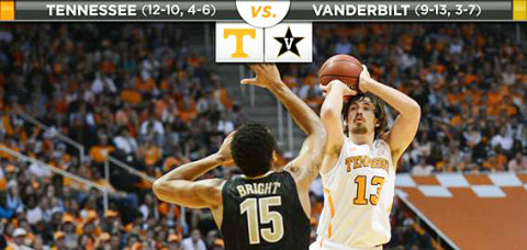 Vanderbilt Commodores take on the Tennessee Vols at Memorial Gym Wednesday night.