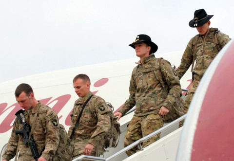 Approximately 100 Soldiers from the 2nd Squadron, 17th Cavalry Regiment, 101st Combat Aviation Brigade, 101st Airborne Division (Air Assault), returned from deployment to Afghanistan during a ceremony, Feb. 15, at Fort Campbell, Ky. (Sgt. David Hodge/U.S. Army)