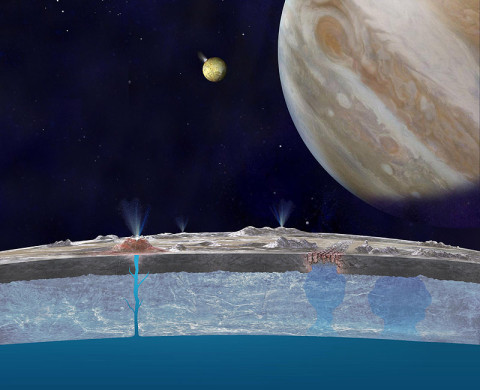 Based on new evidence from Jupiter's moon Europa, astronomers hypothesize that chloride salts bubble up from the icy moon's global liquid ocean and reach the frozen surface where they are bombarded with sulfur from volcanoes on Jupiter's innermost large moon Io. (Image credit: NASA/JPL-Caltech)