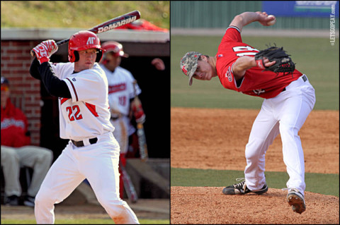 Senior outfielder Cody Hudson (left) and senior closer Tyler Rogers (right) continue to earn national recognition for their performances during the Govs 5-0 week.  (Photo by Austin Peay Sports Information)