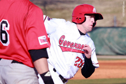 Senior outfielder Cody Hudson had the Govs lone two hits in Tuesday's loss at Indiana State. (Courtesy: Brittney Sparn/APSU Sports Information)
