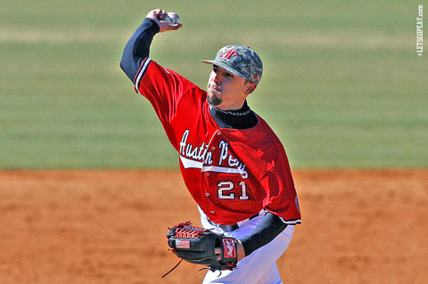Starter Casey Delgado struck out a career-high nine batters, leading APSU to a OVC doubleheader sweep of Jacksonville State, Friday. (Courtesy: Keith Dorris/Dorris Photography)