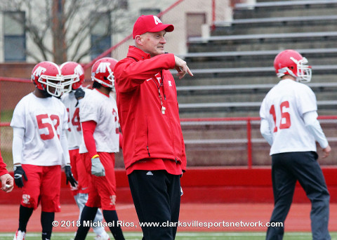 APSU Head Coach Kirby Cannon first day of spring practice.