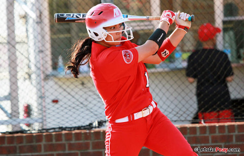 APSU Lady Govs' Lauren de Castro hit back to back doubles Saturday vs. Illinois State. Austin Peay Women's Softball. (Courtesy: Brittney Sparn/APSU Sports Information)