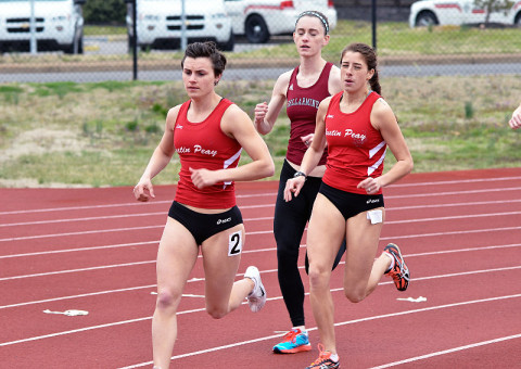 APSU's Chantelle Grey and Xiamar Richards in the 1500m event. APSU Track and Field-(Photo by Josh Vaughn - Clarksville Sports Network)