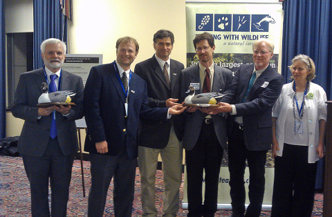 Bill Reeves, (far left) received the Teaming With Wildlife Award for Partnerships in a ceremony in Washington, D.C. Also pictured are Dr. Stephen Spear (Orianne Society), Dr. Brian Miller (MTSU), Dr. Michael Freake (Lee University), Dale McGinnity (Nashville Zoo), and Naomi Edelson (National Wildlife Federation Director of State and Federal Partnerships).