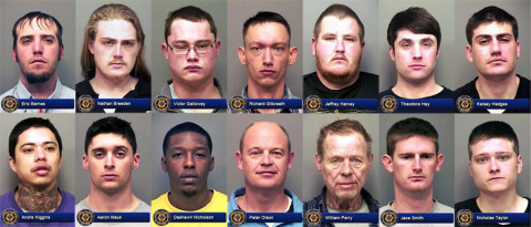Nathan Breeden, Nicholas Taylor, Victor Galloway, William Perry, Eric Barnes, Andre Higgins, Kelsey Hedges, Jeffrey Harvey, Theodore Hay, Jace Smith, Aaron Mauk, Richard Gilbreath, Dashawn Nicholson, and Peter Olson were arrested for DUI.