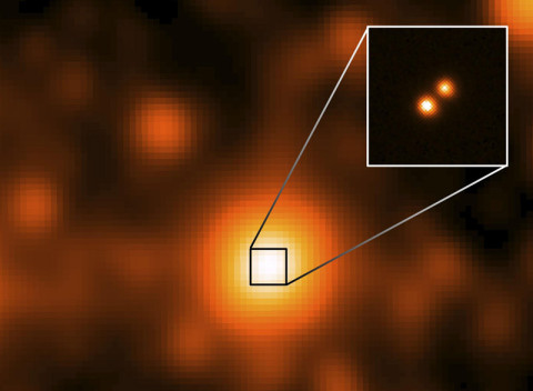 WISE J104915.57-531906 is at the center of the larger image, which was taken by the NASA's Wide-field Infrared Survey Explorer (WISE). This is the closest star system discovered since 1916, and the third closest to our sun. It is 6.5 light-years away.