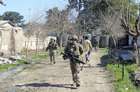 U.S. Army Soldiers with 1st Platoon, Company B, 1st Battalion, 327th Infantry Regiment, 1st Brigade Combat Team, 101st Airborne Division, conduct a dismounted patrol March 1st, 2013, outside Forward Operating Base Finley-Shields, Afghanistan. (U.S. Army photo by Sgt. Jon Heinrich, Task Force 1-101 PAO)
