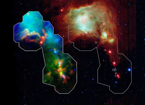 Astronomers have found some of the youngest stars ever seen thanks to the Herschel space observatory, a European Space Agency mission with important NASA contributions. Dense envelopes of gas and dust surround the fledging stars known as protostars, making their detection difficult until now. The discovery gives scientists a window into the earliest and least understood phases of star formation. (Image credit: NASA/ESA/ESO/JPL-Caltech/Max-Planck Institute for Astronomy)