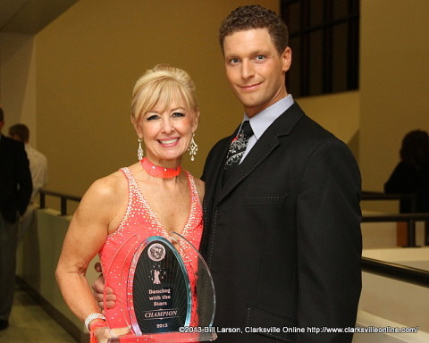 Winner Mary Cooper with her professional partner Jonathan Bungard