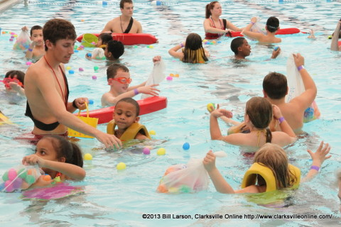 Lifeguards keeping the kids safe in the pool during the City of Clarksville's Wettest Egg Hunt last year.