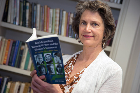 "Dr. Jill Franks, APSU professor of English, reads through her new book, ""British and Irish Women Writers and the Women's Movement: Six Literary Voices of Their Times."" (Photo by Beth Liggett/APSU staff)"