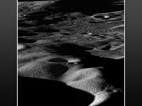 This is a view from NASA's Lunar Reconnaissance Orbiter spacecraft across the north rim of Cabeus crater. The leaping dust behavior may be observed on the moon in places like this where sunlit areas are close to shaded regions. (Credit: NASA/GSFC/Arizona State University)