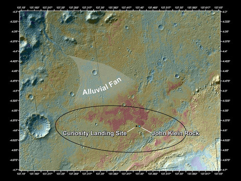 "This false-color map shows the area within Gale Crater where NASA's Curiosity rover landed on Aug. 5th, 2012 PDT and the location where Curiosity collected its first drilled sample at the ""John Klein"" rock. This image was obtained by the Thermal Emission Imaging System on NASA's Odyssey orbiter. (Image credit: NASA/JPL-Caltech/ASU)"