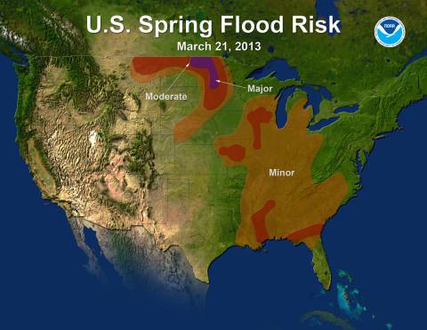 U.S. Spring Flood Risk Map for 2013.  (Credit: NOAA)