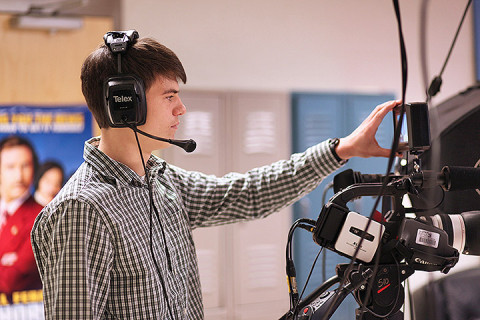 Rossview High student Ian Pope operates the camera for the school's news program.  The school will be offering the Academy of Media Arts and Technology.