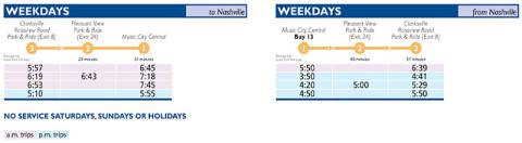 RTA's Clarksville Express Bus Service Schedule