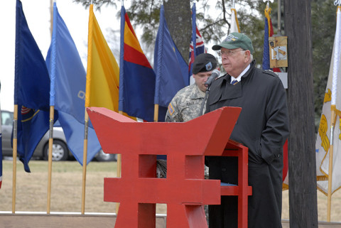 Irving Weinsoff, president of the 187th National Rakkasan Association, speaks about the history and the fallen Rakkasans of the 187th Infantry Regiment, 3rd Brigade Combat Team, 101st Airborne Division (Air Assault) during an activation ceremony Feb. 20 at Fort Campbell, KY. (U.S. Army photo taken by Sgt. Alan Graziano, 3rd Brigade Combat Team, 101st Airborne Division (Air Assault))