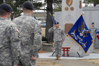 """Maj. John Page, Rear-Detachment commander of the 3rd Brigade Combat Team """"Rakkasans,"""" 101st Airborne Division (Air Assault), salutes the commander of troops to conclude a 187th Infantry Regiment activation ceremony Feb. 20 at Fort Campbell, KY. (U.S. Army photo taken by Sgt. Alan Graziano, 3rd Brigade Combat Team, 101st Airborne Division)"""