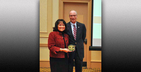 TRC Government Recycler of the Year Award, presented to Clarksville-Montgomery County Green Certification Program – (L to R) Mary Anderson, Bi-County SWM and Phil Harpel, Montgomery County Mayor's Office