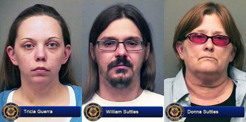 Clarksville Police charged Tricia Guerra, William Suttles and Donna Suttles with Child Abuse/Neglect.