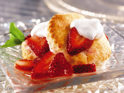 Flaky Southern Biscuit Shortcake is the perfect complement to juicy strawberries and real whipped cream.