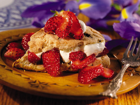Strawberry Chocolate Chip Shortcake is a match made in heaven and easy to make with a chocolate chip muffin mix.