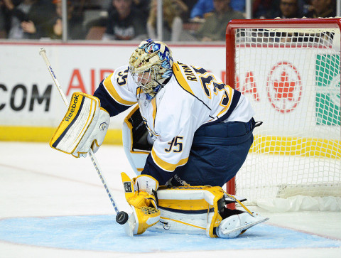 Nashville Predators goalie Pekka Rinne (35). (Kelvin Kuo - USA TODAY Sports)