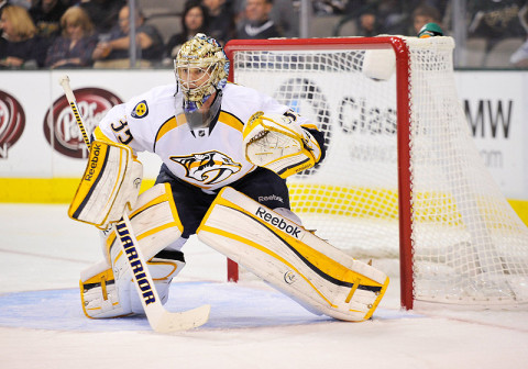 Nashville Predators goalie Pekka Rinne (35). (Photo by Jerome Miron - USA TODAY Sports)