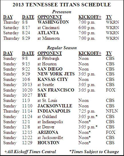 2013 Tennessee Titans Schedule