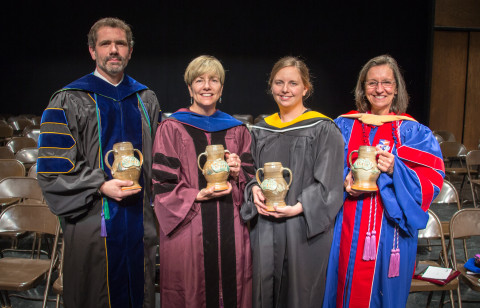 Dr. Eric Branscome, Dr. Lynn Simms, Dr. Rebecca Johansen and Dr. Grace Moodt were all presented with APSU's Socrates Award on April 29. (Photo by Beth Liggett/APSU).