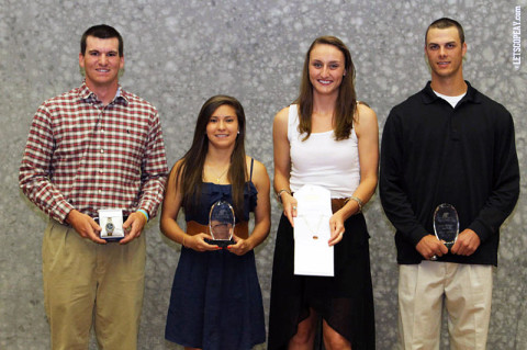 (L to R) Reed Harper, Tatiana Ariza, Nikki Doyle, and Tyler Rogers. (Courtesy: Brittney Sparn/APSU Sports Information)