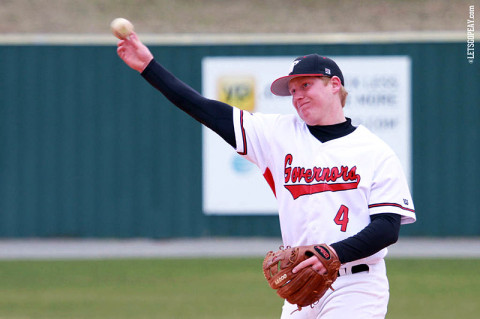 Second baseman Jordan Hankins' two-run, ninth-inning double provided the game-winning runs in Austin Peay's 3-1 victory at Western Kentucky, Wednesday. (Courtesy: Brittney Sparn/APSU Sports Information)