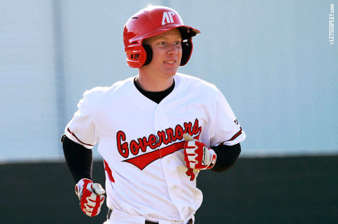 Junior second baseman Jordan Hankins hit a solo home run in the Govs 5-3 loss at Southeast Missouri, Saturday. (Courtesy: Brittney Sparn/APSU Sports Information)