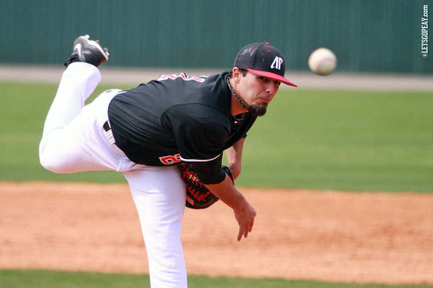 APSU's Casey Delgado struck out six in lifting Austin Peay to a victory over Tennessee Tech on Friday night. Austin Peay Baseball. (Courtesy: Brittney Sparn/APSU Sports Information)