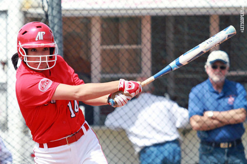 APSU's Lauren de Castro helps rally the Lady Govs with a Grand Slam in Game 1. APSU Softball. (Courtesy: Brittney Sparn/APSU Sports Information)