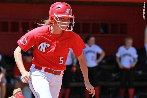 APSU's Laurel Burroughs' single in the bottom of the sixth inning sparked the Lady Govs Monday. They would go on to score three runs in the inning to defeat SEMO 4-1. Austin Peay Softball. (Courtesy: Brittney Sparn/APSU Sports Information)