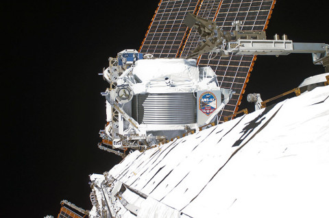 The Alpha Magnetic Spectrometer mounted outside the International Space Station.